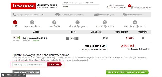 a5645f3c706 Po skončení nákupu vepište slevový kód Tescoma.cz do příslušné kolonky a  nákup je hotový. A se slevou! Archivační kupóny